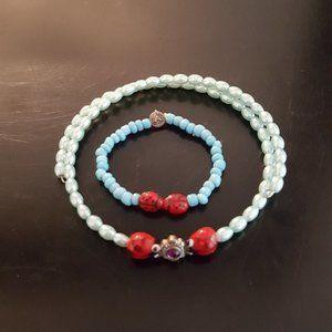 Little Girl Choker lady bug necklace and bracelet